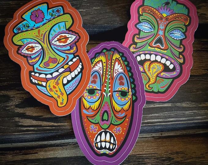 DiaDeLos TIKI- Set of 3 Stickers!