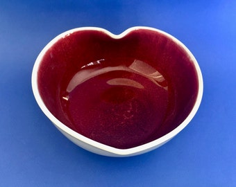 Pottery Heart Shaped Bowl Wheel Thrown Pottery Heart Bowl Valentine Bowl Hand Made Pottery Valentine Bowl