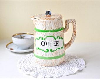 Vintage Coffee Pot Ceramic Coffee Pot with Lid Japan Ceramic Coffee Pot Porcelain Coffee Pot