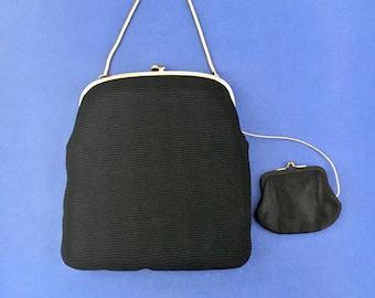 Vintage Ingber Handbag and Coin Purse Black Crepe Ingber Designer Purse Attached Coin Purse
