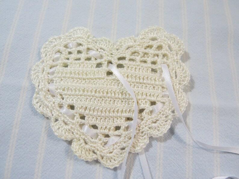 Antique White 4X4 Sachet-/'French Vanilla/' Fragrance-Heart Sachet-Hand Crocheted Hand Blended Heart Sachet-Cotton and Satin-Cindy/'s Loft