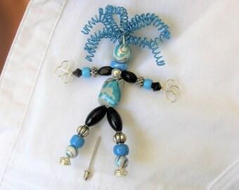 Colorful Crazy Lady Beaded Brooch, Stick Pin, Beaded Brooch, Handmade Brooch