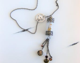 Steampunk Jewelry, Statement Necklace, Assemblage Necklace, Steampunk Necklace, Necklace for Women, Glass Bottle Necklace, Steampunk, N932