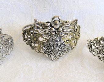 Angel Bracelet, Angel Jewelry, Christmas Angel, Silver Cuffs, Gold Angel Braelet, Christian Jewelry, Christian Gifts, Women Christian Gift