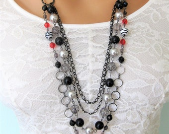 Long Multi Strand Red Black and Silver Necklace for Women, Long Beaded Necklace with Red Black and Silver beads, Handmade Jewelry for Women
