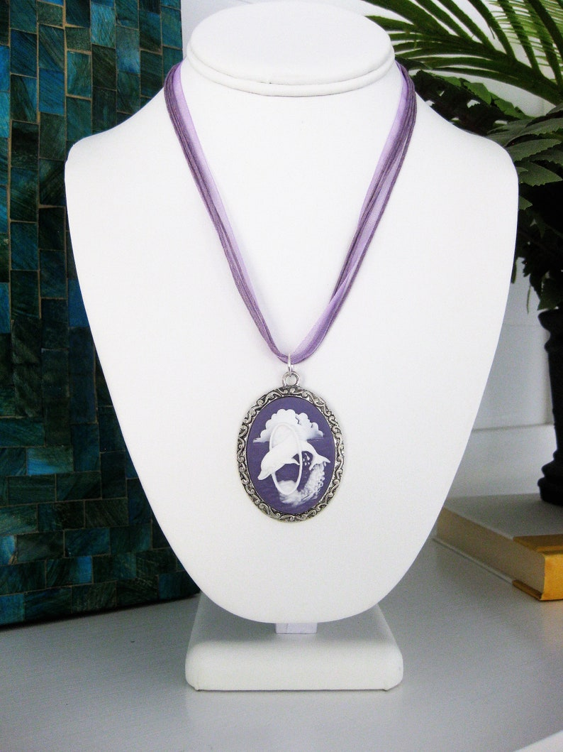 Blue Cameo Dolphin Necklace Cameo Necklace Cameo Jewelry Sea Life Beach Jewelry Short Necklace Dolphin