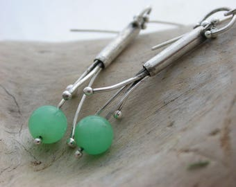 Chrysoprase and sterling silver tendril earrings Artisan jewelry