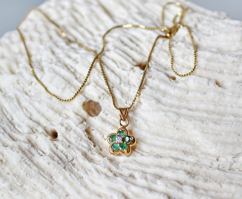 Marked 14 K Dainty 14K Yellow Gold Necklace with Chrysoprase and Diamond Flower Pendant 15 Inch Chain.