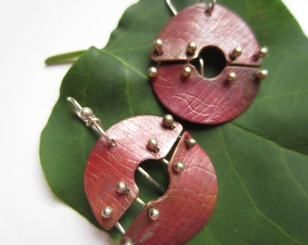 Riveted Red copper circle earrings