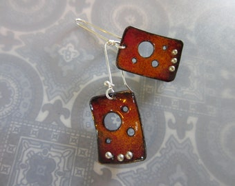Enamel Earrings Orange