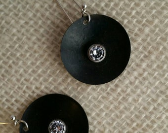 Steel diamond earrings