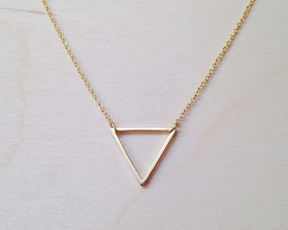 Inverted Triangle Necklace Etsy