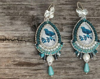 Romantic dangle earrings, white blue bead embroidered earrings, gift for her, seaside vacation