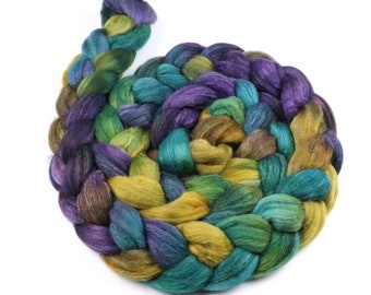 Polwarth & tussah silk hand painted roving - indie dyed wool spinning felting fiber - 5 oz Moon Reflections - yellow aqua purple top to spin