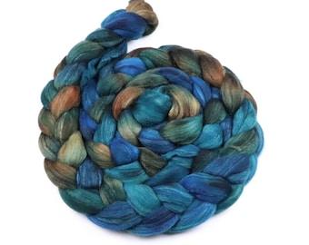 Polwarth & tussah silk earthy painted roving - indie dyed wool spinning felting fiber - 5 oz Seabed - aqua blue orange wool top for spinning