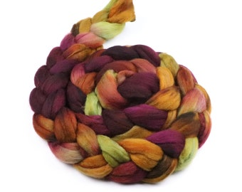 Polwarth wool roving fiber - spinning felting wool - 5 oz Late Harvest - fall golden yellow green plum purple combed top - indie dyed fiber
