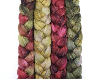 Wonder Bundle Polwarth & tussah silk roving 9 oz Autumn Symphony - hand dyed spinning felting fiber bundle - mustard red green fiber set
