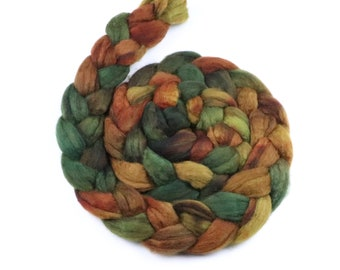 BFL wool roving hand dyed combed top - indie dyer spinning felting fiber - 5 oz Beechwood - mustard orange green wool fiber braid - earthy