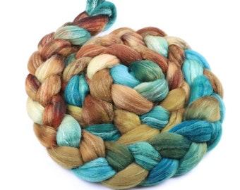 Polwarth & tussah silk earthy painted roving - indie dyed wool spinning felting fiber - 5 oz Shoreline - mustard orange cream aqua wool top
