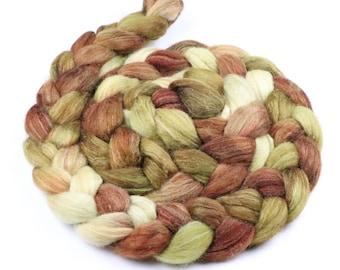 Polwarth & tussah silk hand indie dyed roving - painted wool spinning felting fiber - 5 oz Autumn Spice - cream mustard orange top to spin