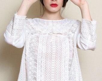 Edwardian Blouse, Plus Size Clothing, White Blouse, Bohemian Clothing, Lace Top, Crochet Clothing, Bridal Top, Boho Blouse, Wedding Top