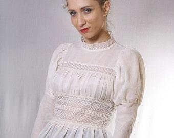 Victorian Blouse, Cotton Blouse, Women Lace Blouse, Romantic Blouse, Plus Size Blouse, White Lace Top, Boho Top, Women Wedding Top