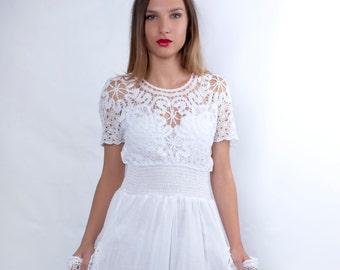 Boho Wedding Dress, White Dress, Cotton, Plus Size Clothing, Alternative Wedding Dress, Plus Size Dress, Crochet Dress, White Lace Dress
