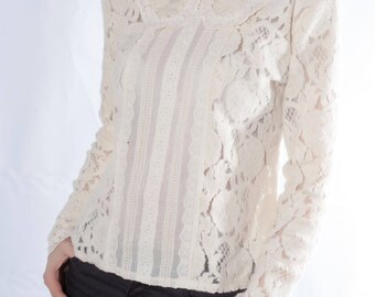 e0b57dcc0f1 Lace Top, White Blouse, Edwardian Blouse, Women Top, Cotton Blouse, Elegant White  Top, Long Sleeve Top, Wedding Top, Plus Size Blouse, Top