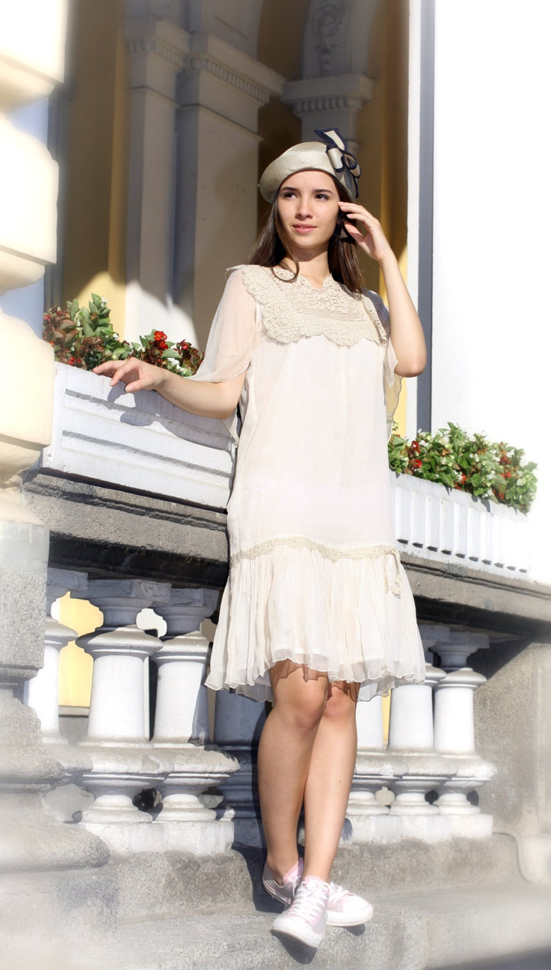 Crochet Dress 20s Dress Gatsby Dress White Wedding Dress | Etsy