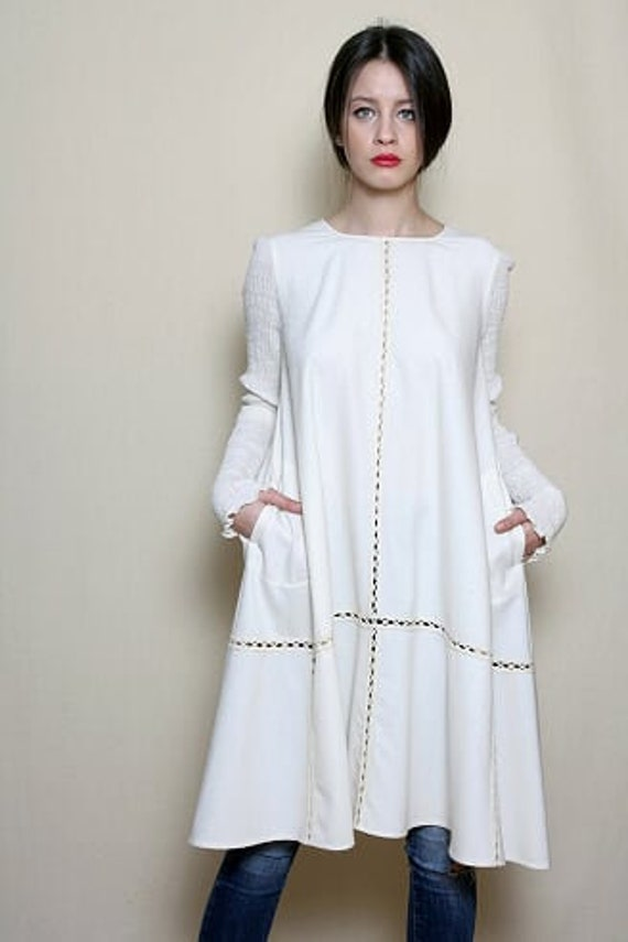 Dress For Women, White Dress, Wool Dress, Winter Dress, Wool Clothing, Plus  Size Dress, Edwardian Clothing, Alternative Wedding Dress