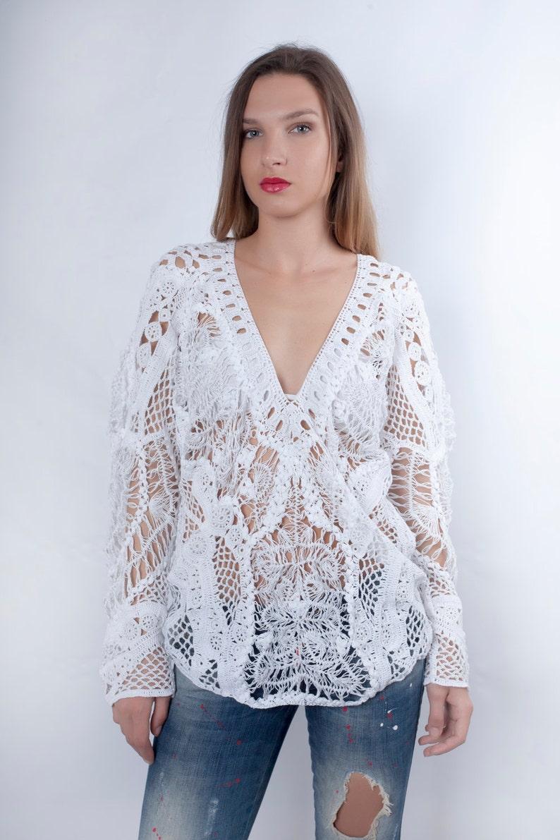 dfb78752328578 Crochet Blouse Sheer Blouse Long Sleeve Summer Top Crochet | Etsy