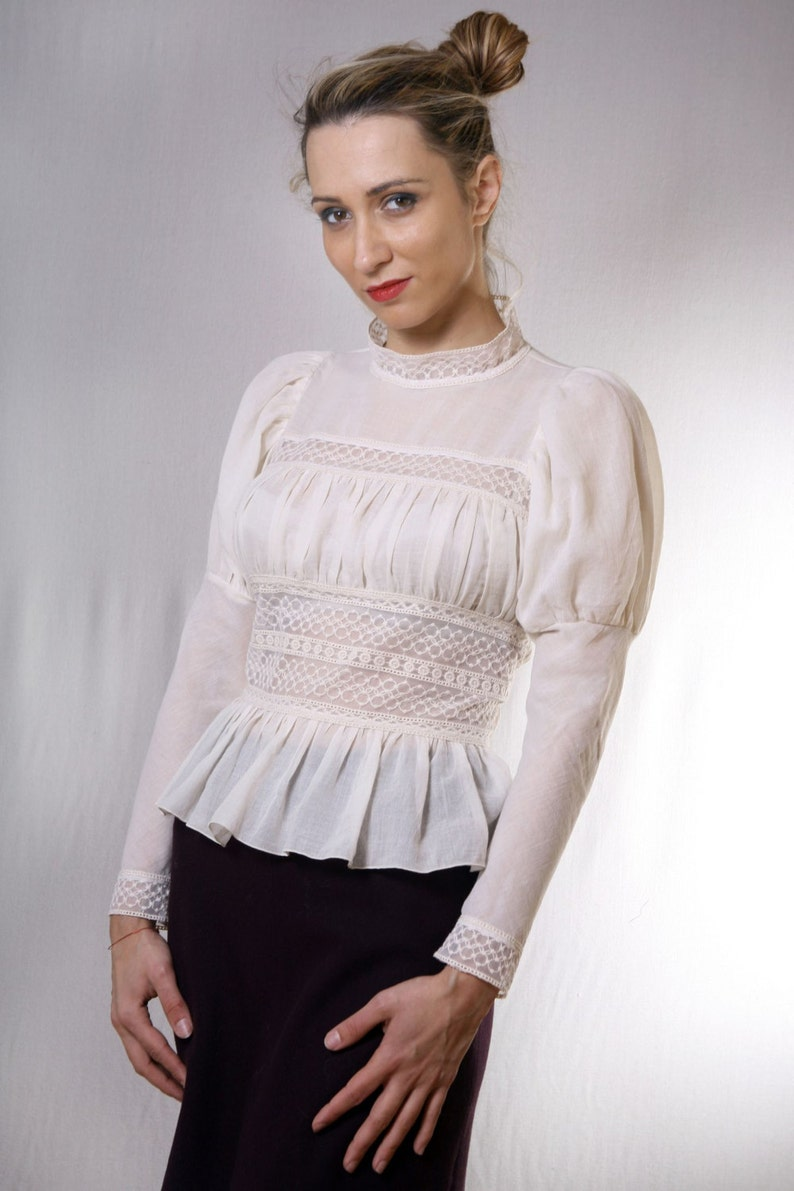 44fb9528011 Victorian Blouse White Lace Top Cotton Blouse Women Lace | Etsy