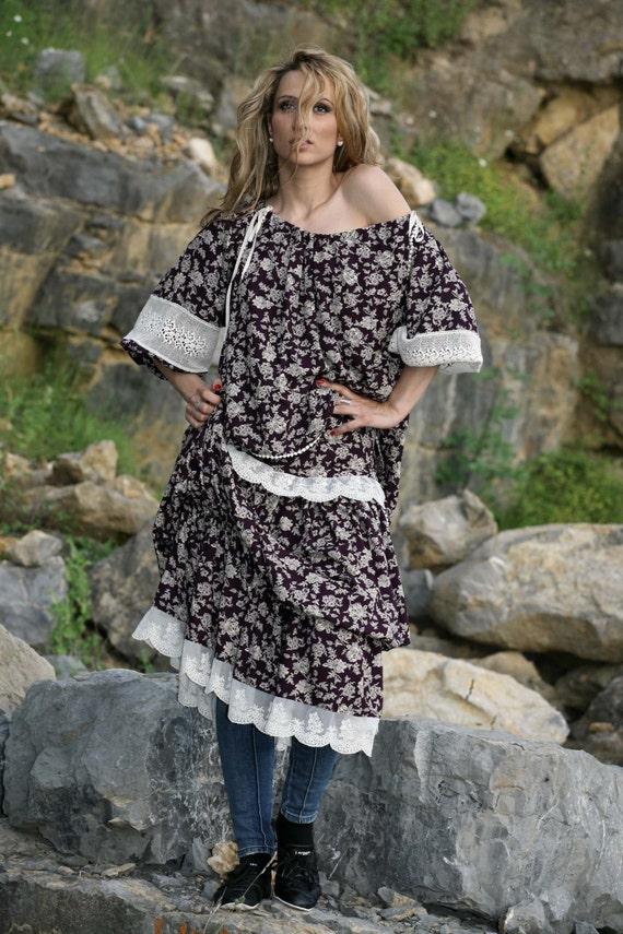 Sleeve Retro Off Draping Top Blouse Top Bohemian Blouse Short Printed Top Top Lace Women Shouter Clothing Top Women Blouse Cotton wSXaqnxPOB