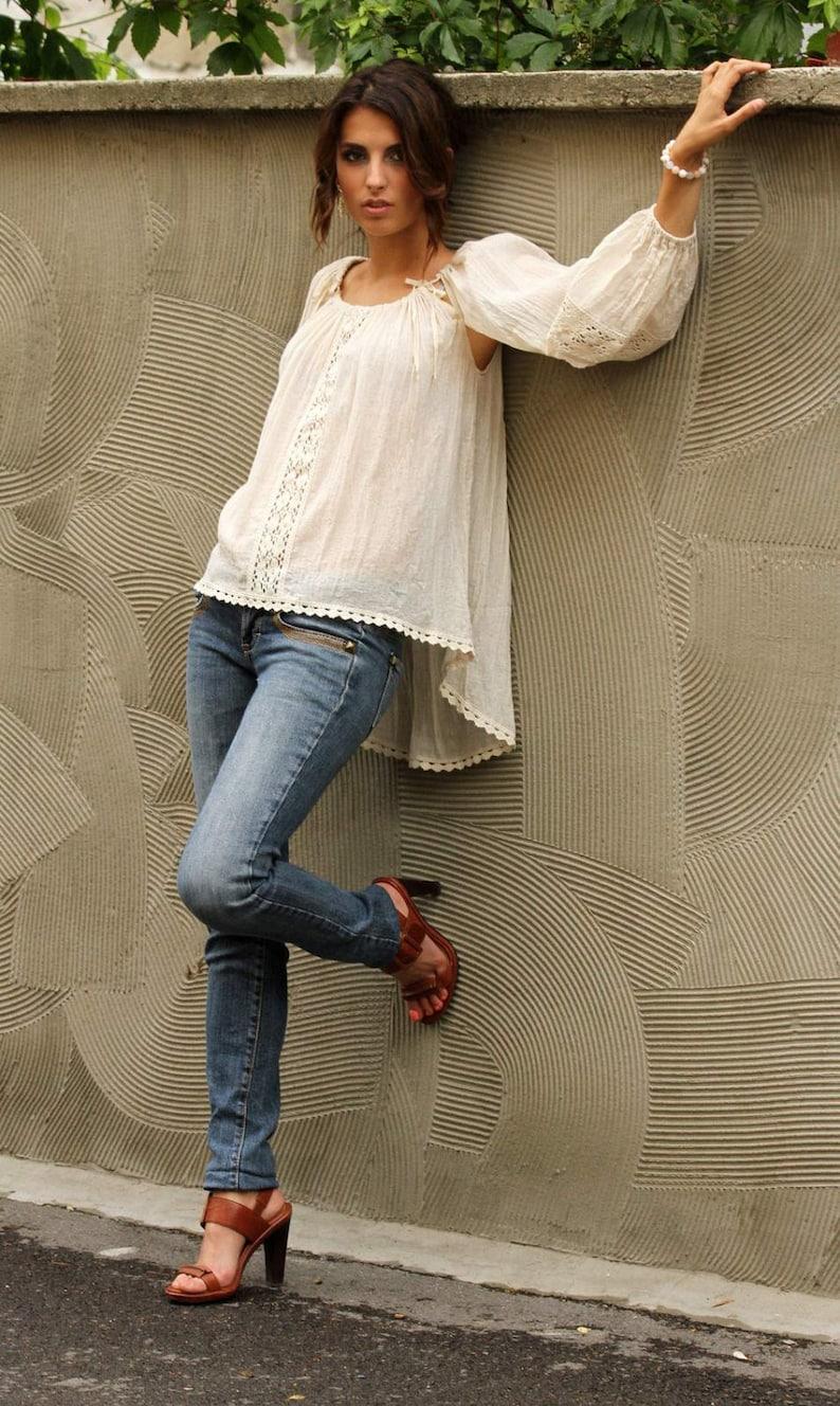 f9b28a530c7 White Tunic Top Crochet Top Plus Size Blouse Bohemian Top   Etsy