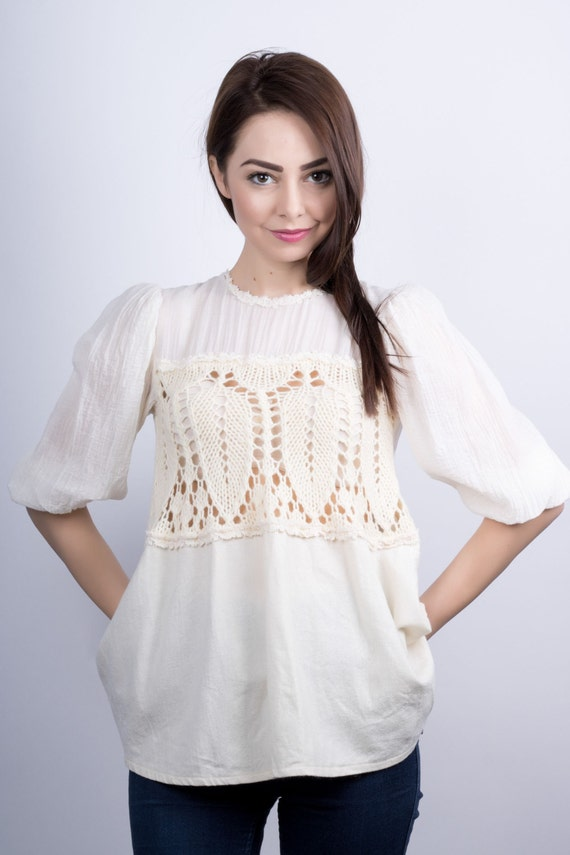 6454a3a1947b0 White Tunic White Knitted Top Women White Blouse White