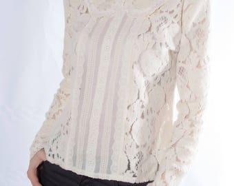 Lace Top, White Blouse, Edwardian Blouse, Women Top, Cotton Blouse, Elegant White Top, Long Sleeve Top, Wedding Top, Plus Size Blouse, Top