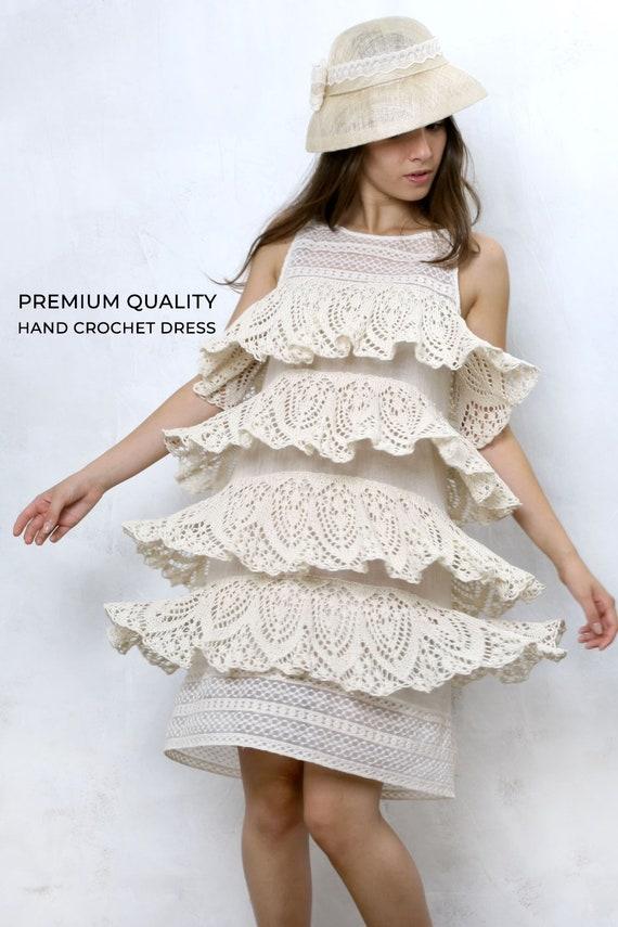 Boho Wedding Dress, Bohemian Dress, Crochet Dress, Plus Size Short Dress,  Summer Dress, Ivory Dress, Women Lace Dress, Avant Garde, Knitwear