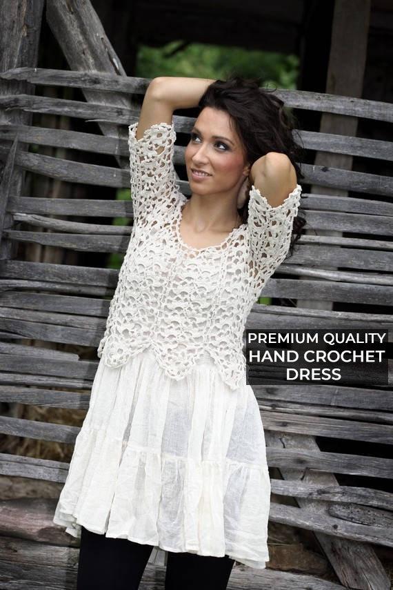 White Tunic, Crochet Dress, Boho Wedding Dress, Plus Size Clothing, White  Boho Dress, White Dress, Crochet Clothing, Lace Dress, Knitwear