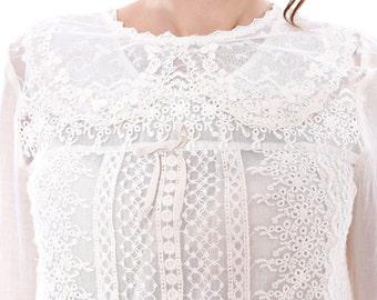 Crochet Blouse, White Blouse, Lace Blouse, Edwardian Clothing, Plus Size Blouse, Cotton Blouse, Lace Clothing, Festival Blouse, Party Blouse