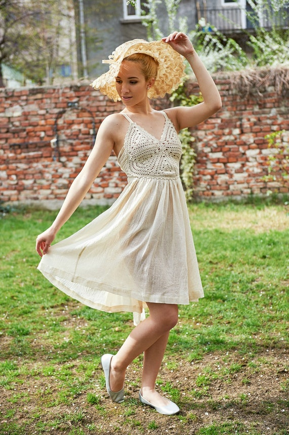 Sun Dress, Boho Dress, Plus Size Clothing, Crochet Dress, Hippie Wedding  Dress, White Beach Dress, Ivory Dress,Edwardian Clothing,Midi Dress
