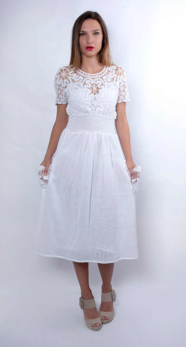 Boho Wedding Dress White Dress Cotton Plus Size Clothing Etsy