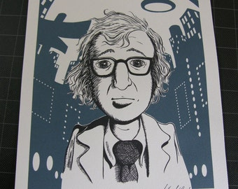 Woody Allen Print, 8.5 x 11, Pen and Ink Print, Signed
