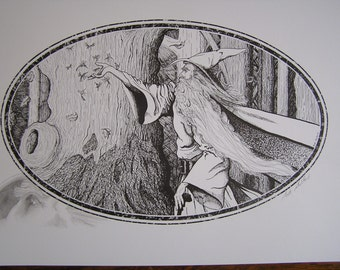 Wizard Print, 11 x 14, Pen and Ink Print With Original Remarque Sketch
