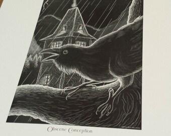 Frankenstein and Raven Scratchboard Print