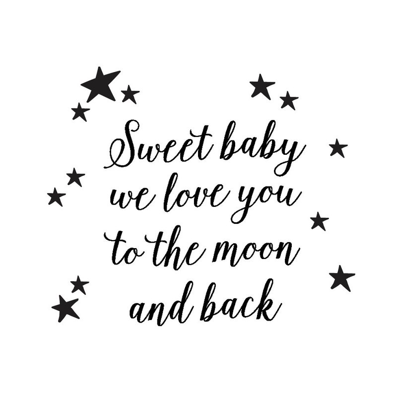 Sweet baby we love you to the moon and back Custom rubber stamp Baby Shower Rubber Stamp DIY Baby Shower