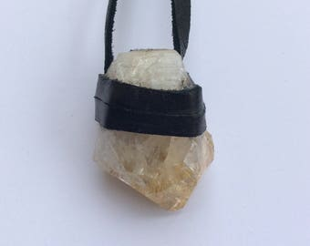 Leather Wrapped Brazilian Citrine Necklace