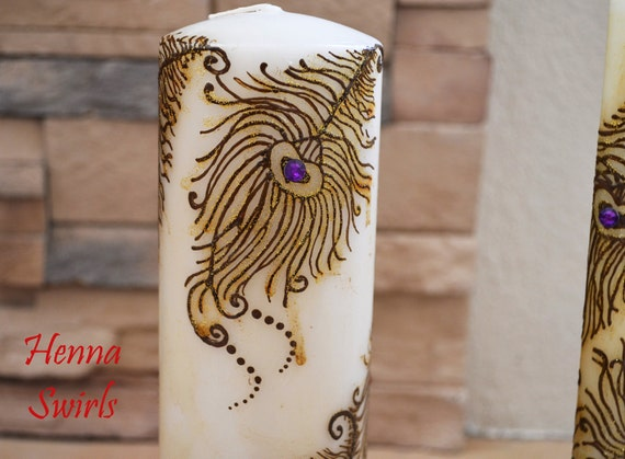Peacock Feather Candle Original Henna Candle Wedding Etsy