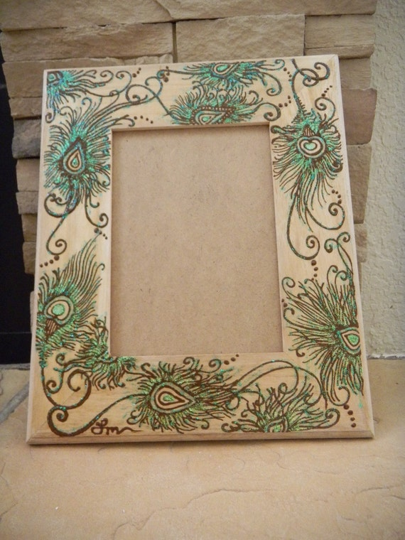 Picture Frame With Peacock Feathers Henna Design Original Etsy