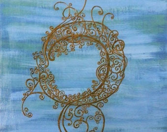Original Painting Henna Art, Blue Night Swirls, Unique, OOAK, Gallery wrapped and Ready to Hang