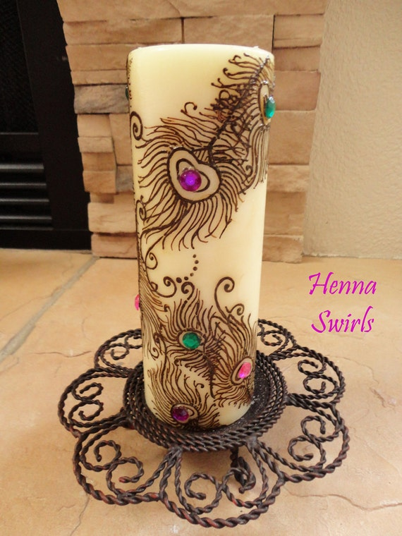 Henna Candle Peacock Feathers Perfect Wedding Centerpiece Etsy